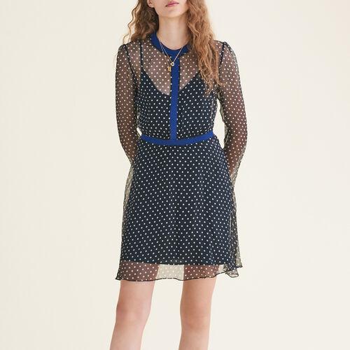 Polka-dot chiffon dress - Dresses - MAJE