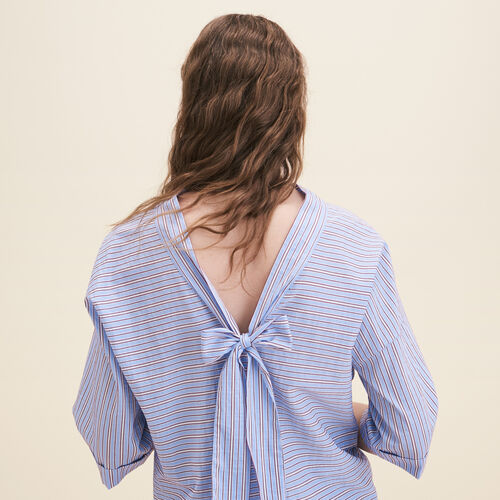 Loose striped cotton top - Tops - MAJE