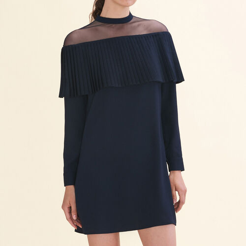 Dress with crepe pleated frill - Dresses - MAJE