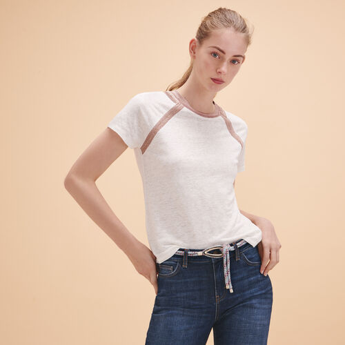 Linen T-shirt with lurex detailing - Tops - MAJE