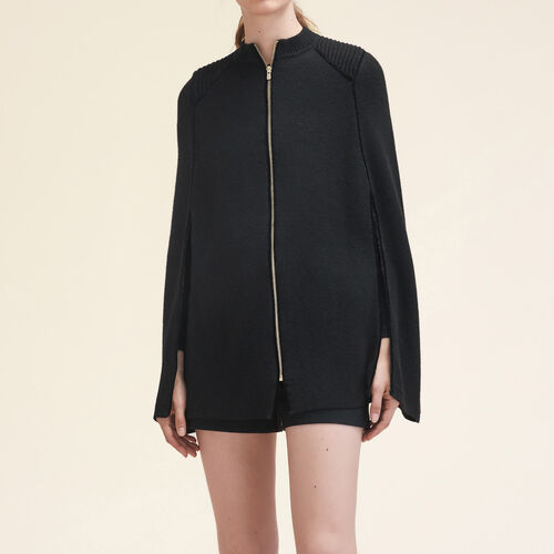 Knitted cape with contrasting details - Knitwear - MAJE