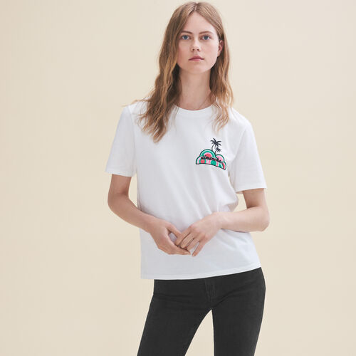 Embroidered T-shirt Sunday - Tops - MAJE