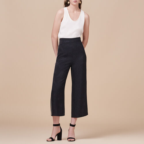 Wide-leg trousers with brocade print - Trousers - MAJE