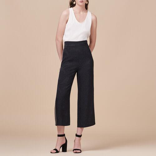 Pantalon large avec imprimé brocart - Pantalons - MAJE