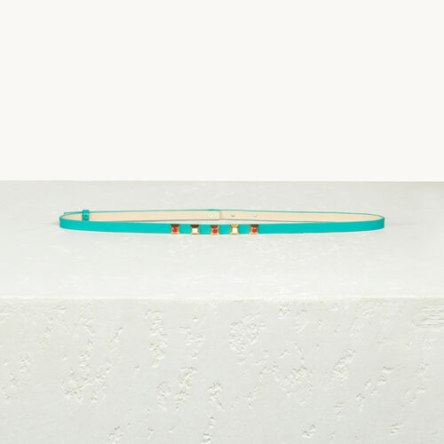 Fine ceinture en cuir avec stucs - Ceintures - MAJE