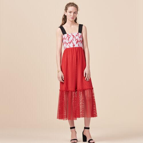 Long mixed material dress - Dresses - MAJE