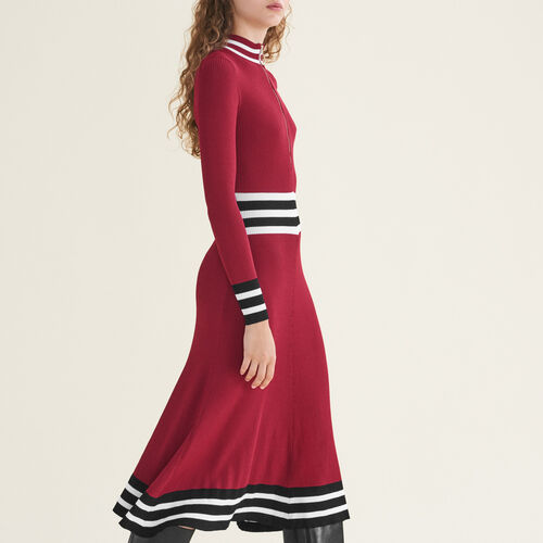 Robe longue en maille côtelée - Robes - MAJE