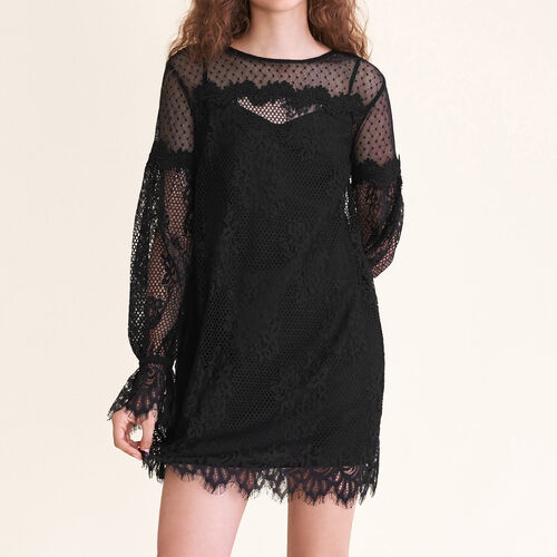 Short lace and dotted Swiss dress - Dresses - MAJE