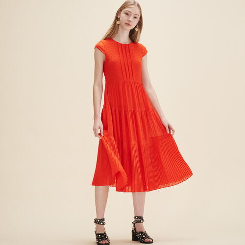 Long dotted Swiss dress - Dresses - MAJE