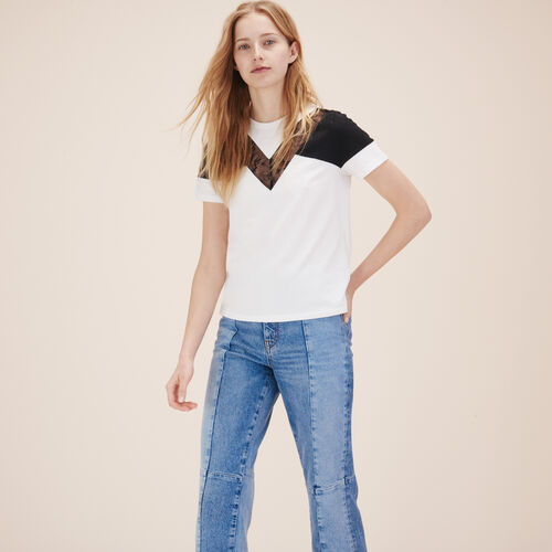 T-shirt with lace - Tops - MAJE