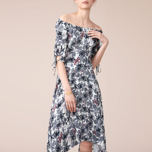 Long printed crêpe dress - Dresses - MAJE