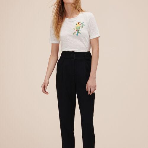 Crêpe 7/8-length trousers - Trousers - MAJE
