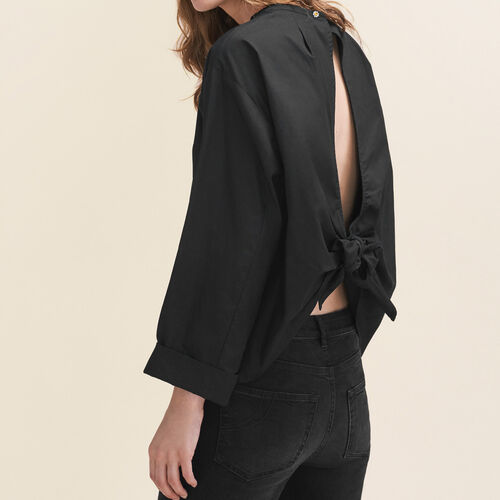 Wide-cut blouse with open back - Tops - MAJE