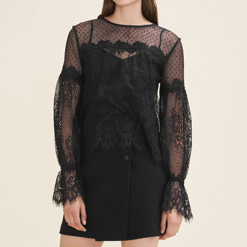 Lace and dotted Swiss top - Tops - MAJE