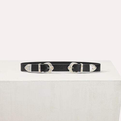Double scalloped buckle leather belt - Belts - MAJE