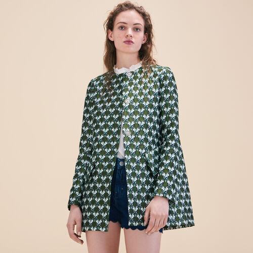 Straight-cut jacquard coat - Coats - MAJE