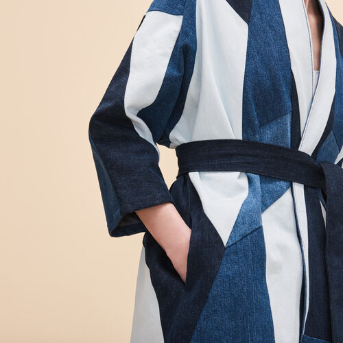 Patchwork denim jacket - Denim - MAJE