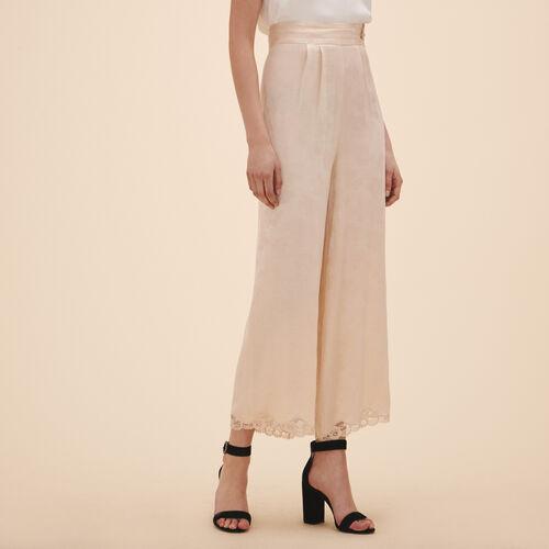 Pantalon large en jacquard satin - Pantalons - MAJE