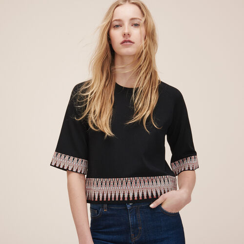 Jumper with jacquard detail - Knitwear - MAJE