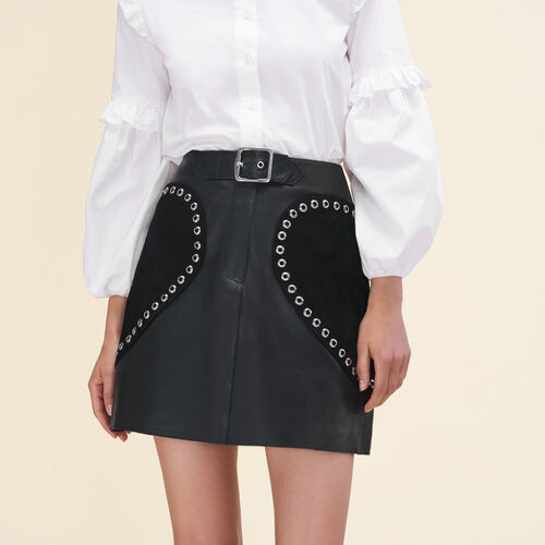 Leather A-line skirt - See all - MAJE