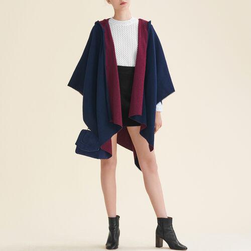 Reversible hooded poncho - Scarves - MAJE