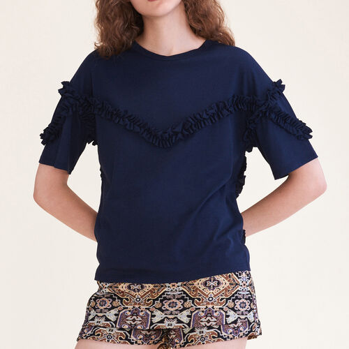T-shirt with frill detail - Tops - MAJE