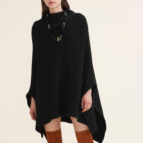 Tube-knit poncho cape - Knitwear - MAJE
