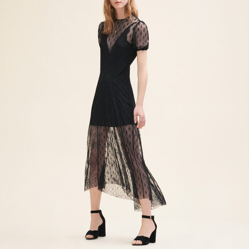 Long dress with embroidery and lace - Dresses - MAJE