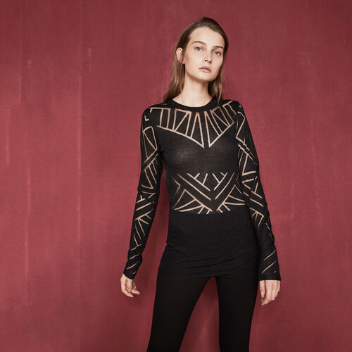 Dévoré jumper with geometric motifs - Knitwear - MAJE