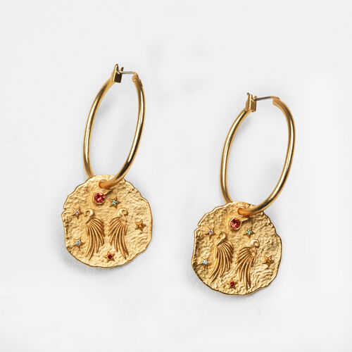 Earrings with hammered medallion - Jewelry - MAJE