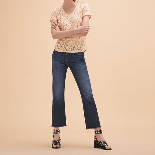 Dévoré lace T-shirt - Tops - MAJE