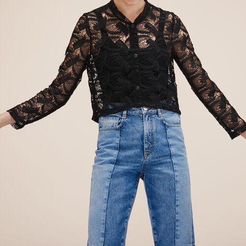Lace cropped jacket - Blazers - MAJE