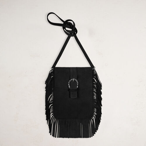Suede shoulder bag with fringes - Voir Tout - MAJE