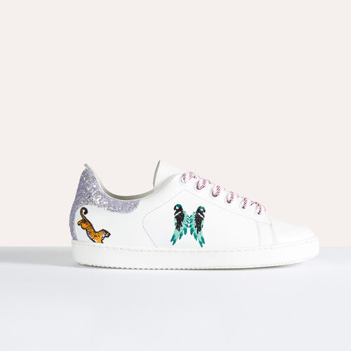 Leather trainers with embroidery - Shoes - MAJE