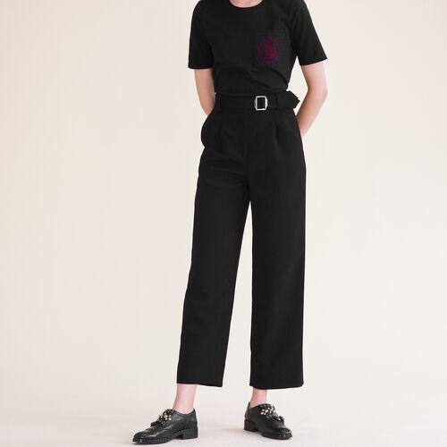 Pantalon large avec ceinture - Pantalons - MAJE