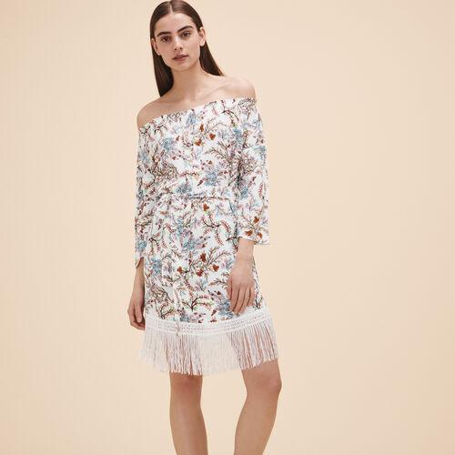 Printed dress with fringes - Dresses - MAJE