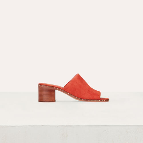 Mules a` talon en sue`de : Escarpins couleur Terracotta