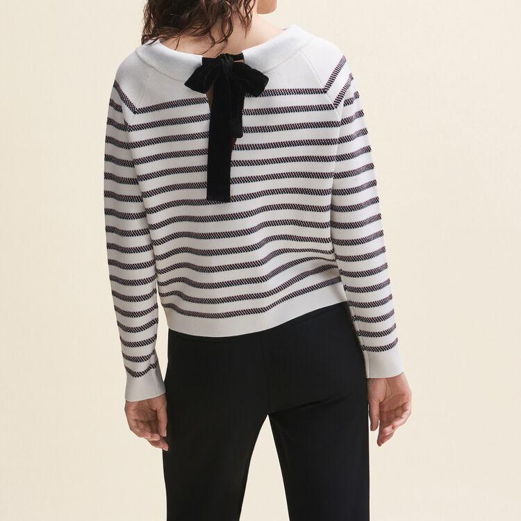 Pull marinière en laine mélangée : Pulls & Cardigans couleur ECRU