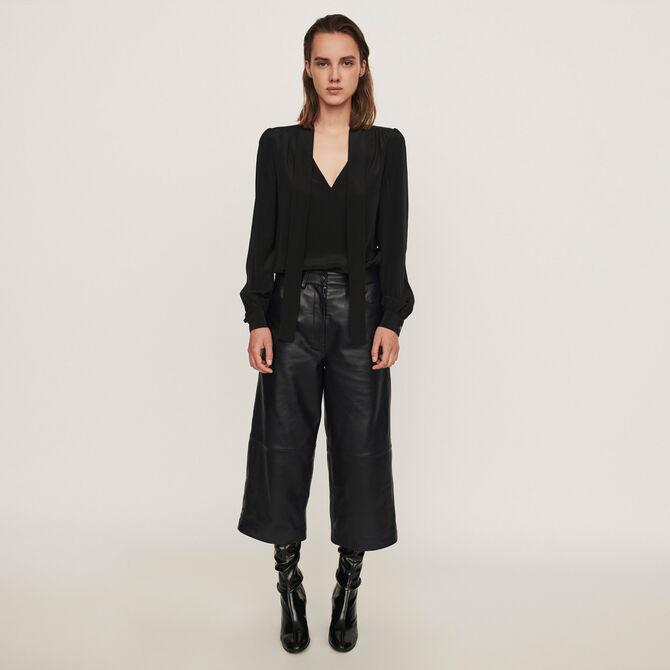 Pantalon façon bermuda en cuir - null - MAJE