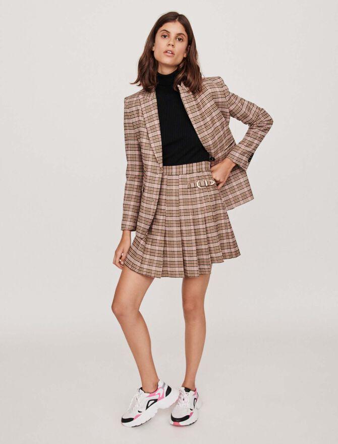 Pleated plaid kilt-style skirt -  - MAJE