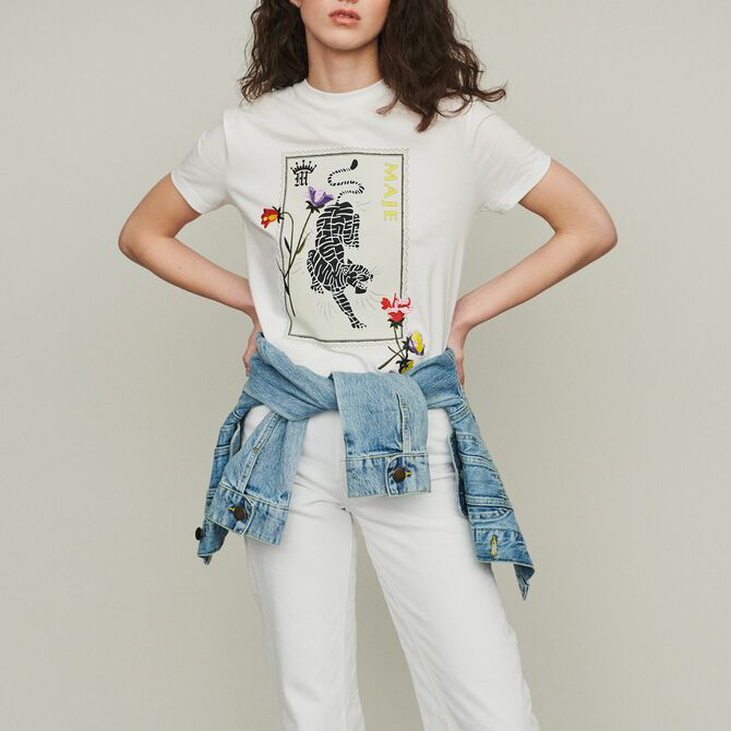 Printed embroidered T-shirt - Last Chance - MAJE