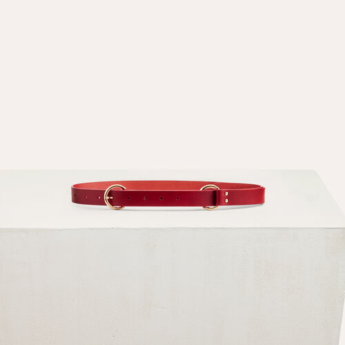 Belt with a mettalic ring : Burgundy color Burgundy