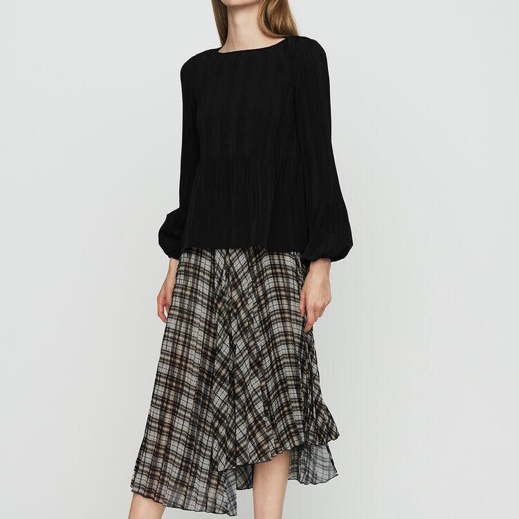 Jupe plissée asymétrique à carreaux : Jupes & Shorts couleur CARREAUX