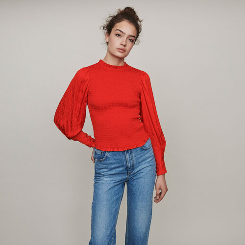 Satin jacquard smock top : Tops & Shirts color Red