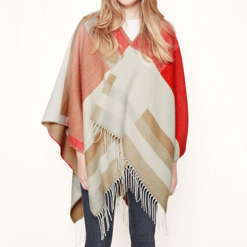 Graphic fringed poncho : Accessories color Camel
