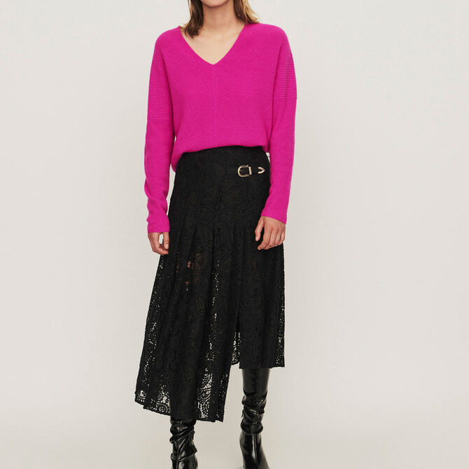 Guipure skirt with cashmere detail - See all - MAJE