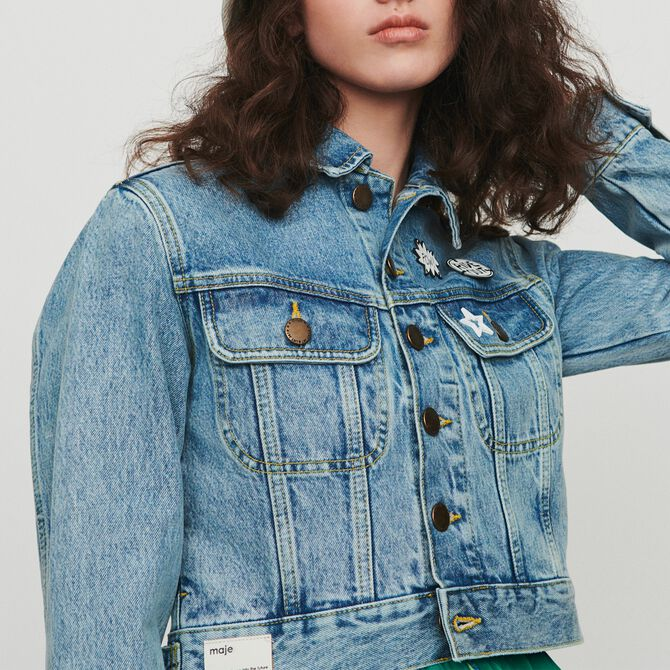 Cropped jacket in denim with pins - See all - MAJE