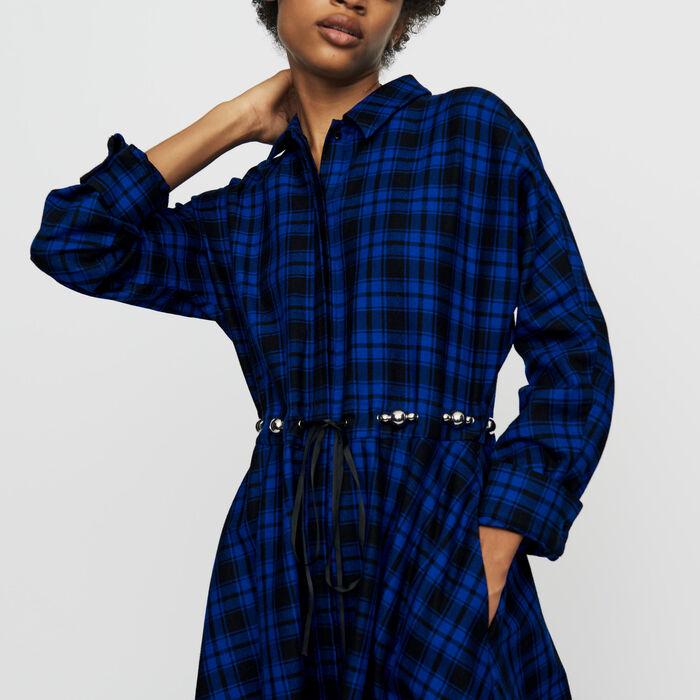 Robe-chemise longue à carreaux : Robes couleur CARREAUX