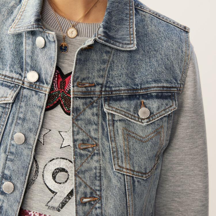 Veste sans manches en jean : Le denim couleur Bleu