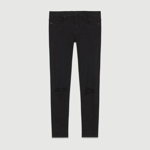 Jean slim 7/8 avec broderie : Jeans couleur BLACK